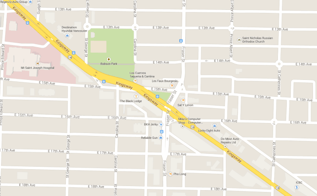 Map of Kingsway and Fraser St in East Vancouver
