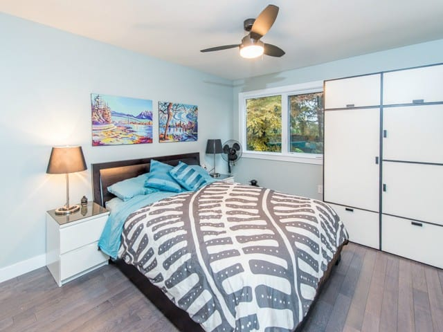renovated one bed condo bedroom in east vancouver